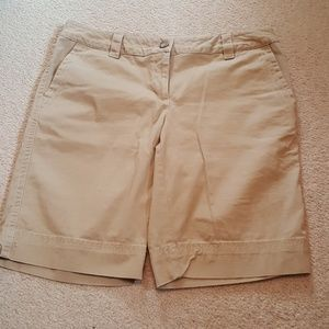 LANDS' END tan bermuda shorts with stitch detail